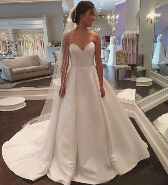 Charming Sweetheart Neck A-line Wedding Dresses Court Train Lace Up Back Satin Bridal Wedding Gowns Vestido De Novia