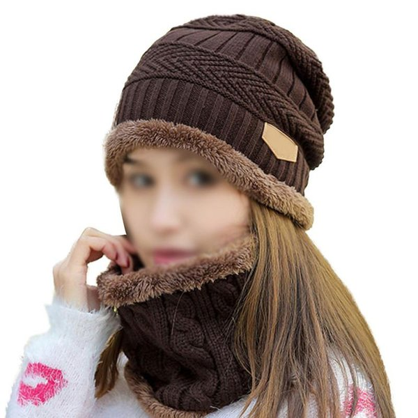 Winter Thick Knit Caps Warm Neck Scarf Set Hats Bib Beanies For Women Cap Outdoor Cycling Korean Fashion Tide Collar Wool Hat