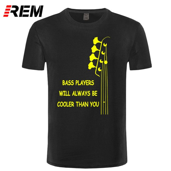 wholesale New Summer Style Bass Guitar Players Are Cool T-shirt Funny Double Rhythm Electric T Shirt Men Short Sleeve Top