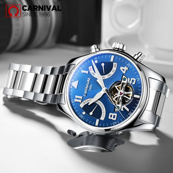 CARNIVAL Skeleton Sandblast Mechanical Men Watch Waterproof Luminous Stainless Steel Tourbillion Montre TopBrand Luxury relogio