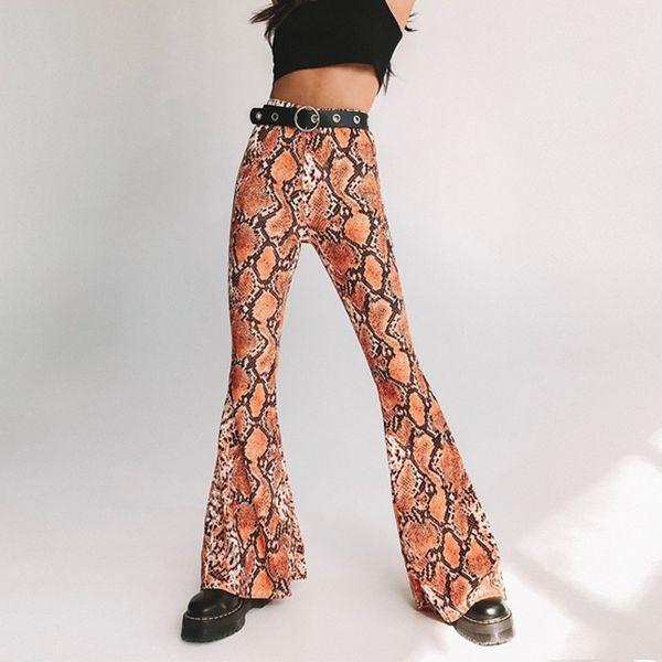 Nuove donne sexy stampa serpente pantaloni flare pantaloni Slim tuta femminile Capris moda femminile Streetwear P407