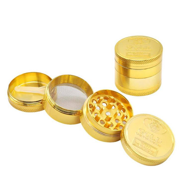 Four-layer Zinc Alloy Gold Coin Smoke Grinder with a Diameter of 40mm