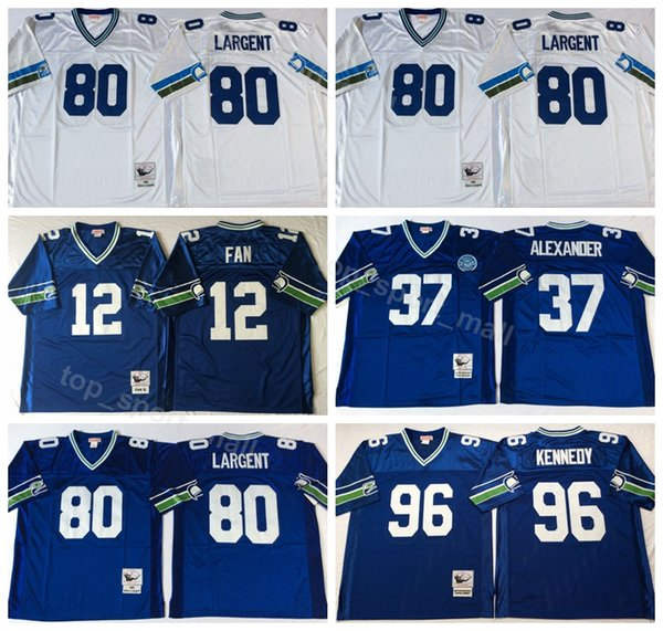 half off aa06f 5b5d9 2019 Seattle Seahawks Vintage 80 Steve Largent Jersey Men 37 Shaun  Alexander 96 Cortez Kennedy 12 12th Fan Football Jerseys American Blue  White From ...