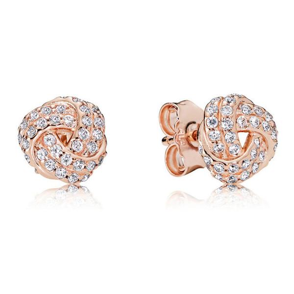 18K Rose Gold knot Stud Earring Original box for Pandora 925 Silver Crystal CZ Diamond Earrings Set for Women Wedding Gift