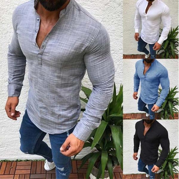 E-BAIHUI 2019 Verão Sexy Camisa Dos Homens Mangas Compridas V Neck Blusa Casual Slim Fit Tees Tops Camisas Respiráveis Masculinos Plus Size S-5XL L169