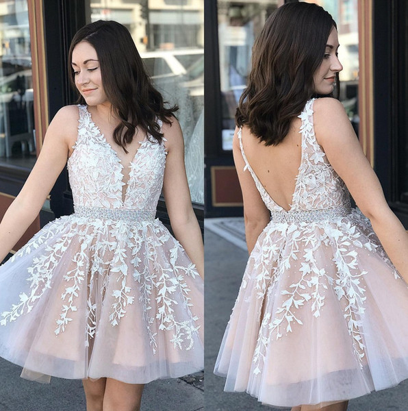 V Neck Lace A Line Short Homecoming Dresses 2020 Tulle Applique Knee Length  Short Prom Dresses Plus Size Vestidos De Festa BM0987 Girls Homecoming ...