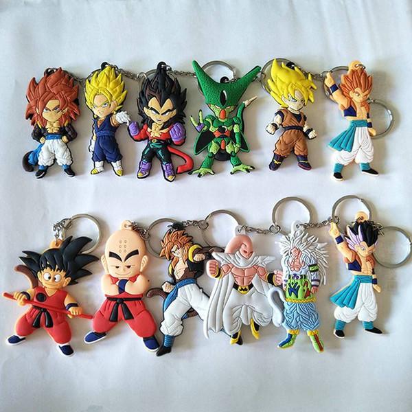 Anime Dragon Ball Z Chaveiro Son Goku Super Saiyajin PVC PVC Chave Anéis Action Figure DBZ Pingente Chaveiros Coleção Brinquedo