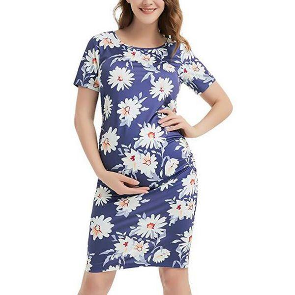 Abiti di maternità moda donna per servizio fotografico Donne incinte Stampa floreale Girocollo Abito manica corta Abiti Hamile Elbise