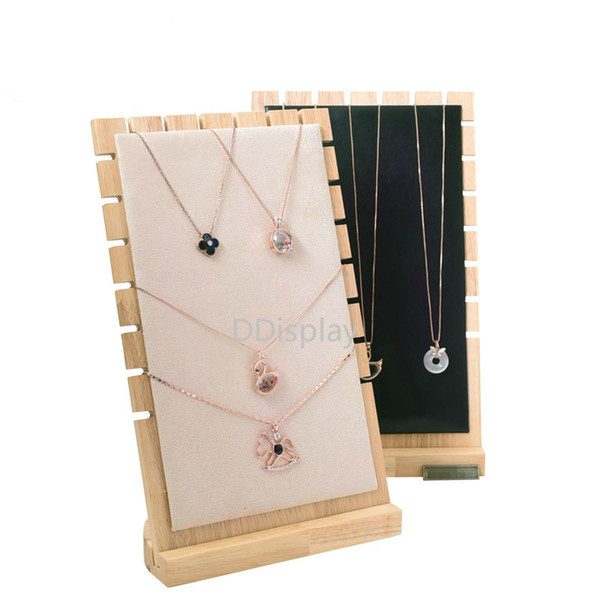 [DDisplay]Solid Wood Necklace Standing Jewelry Organizer Pendant Storage Collection Windows Display Bracelet Jewelry Display