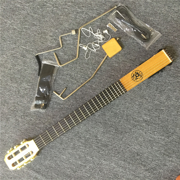 In Stock NEW ARRIVAL Mini & Mute Guitar, Acoustic guitar with EQ, Maple neck & body, Gloss Finish Natural Color, Bone Nut