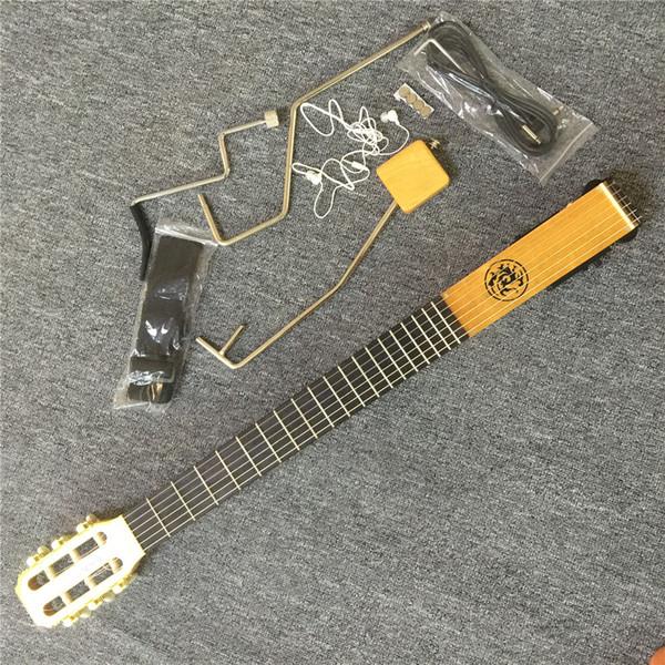 Em estoque CHEGADA NOVA Mini Mute Guitar, Guitarra acústica com EQ, Maple neck body, Cor natural de acabamento brilhante, Porca de osso