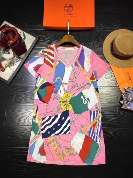 Marka yaz elbiseler bayan t shirt artı boyutu elbise bayanlar günlük elbiseler Ipek Yeni baskılı ipek gömlek elbise etek kadın giyim HER-37