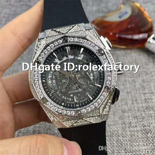 Top Luxury Watch VK Quartz Full Diamond Stainless Steel Case openworked Dial Sapphire CrystalI grind arenaceous Rubber Strap Mens Watch