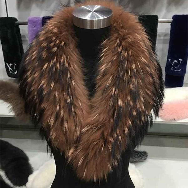 JIP*2018 new 100% super giant raccoon fur collar fur collar Collar Scarf general factory direct sale D19011003