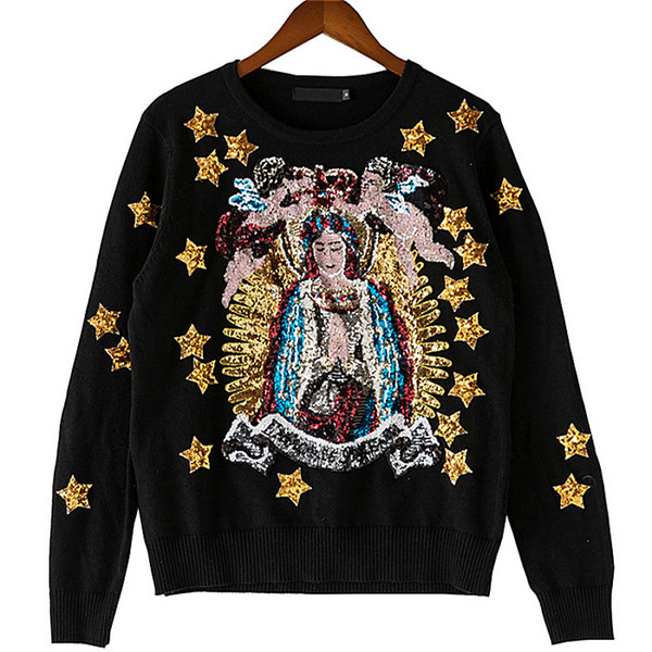 Spring Autumn Luxury Sweater Outwear Coat Angels Stars Goddess Exquisite Sequins Embroidered Women Knitting Pullovers Sweaters