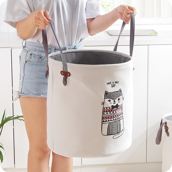 Eva Canvas Folding Basket Cartoon Barrel Standing Toy Storage Bucket Laundry Organizer Clothing Holder J190713