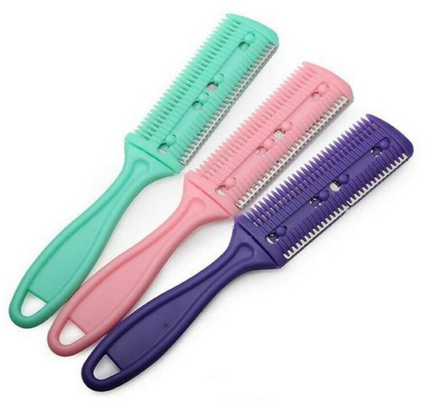 3 Colors Hair Razor Comb Handle Hair Razor Cutting Thinning Comb Home DIY Trimmer inside with Blades Brush
