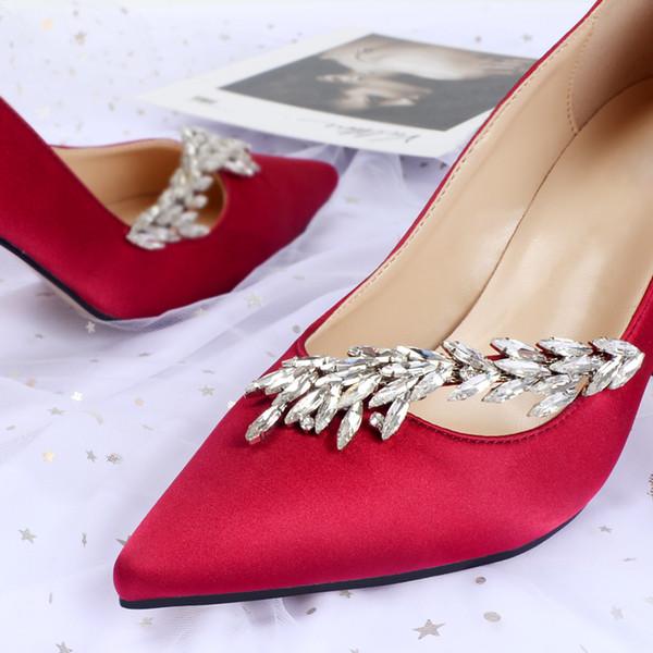 Hot Sale Crystals Stiletto Heel Silk Wedding Shoes For Bride Designer Women Heels Poined Toe Rhinestones Lady Pump