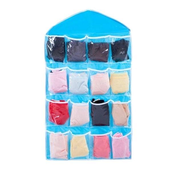 16 Grids porte arrière Hanging sac de rangement mural Armoire penderie Accrocher Sac à jouets Mêle cosmétiques