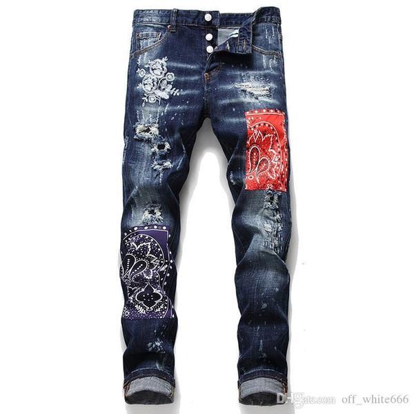 Luxo jeans mens marca de moda trecho vermelho costura azul imprimir calças jeans bordados de moda italiana calça jeans de marca