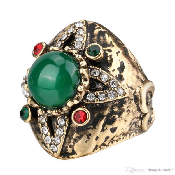 Pay4U Verde natural concha de mariposa perla con incrustaciones de oro con incrustaciones de diamantes ART anillo de cuatro estrellas deseo explosión