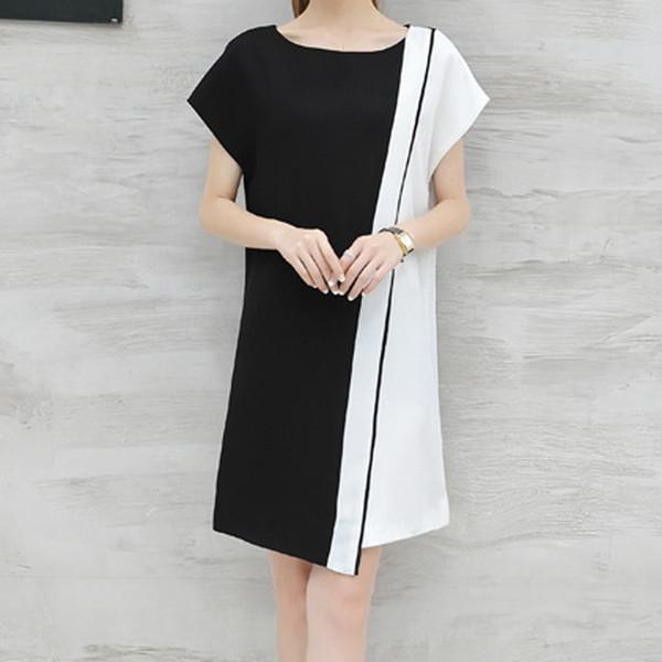 Vestido de negocios de verano para mujer Cinturón O-cuello Manga corta Hasta la rodilla Vestidos sueltos de fiesta Vestidos de verano Vestido de verano 2019