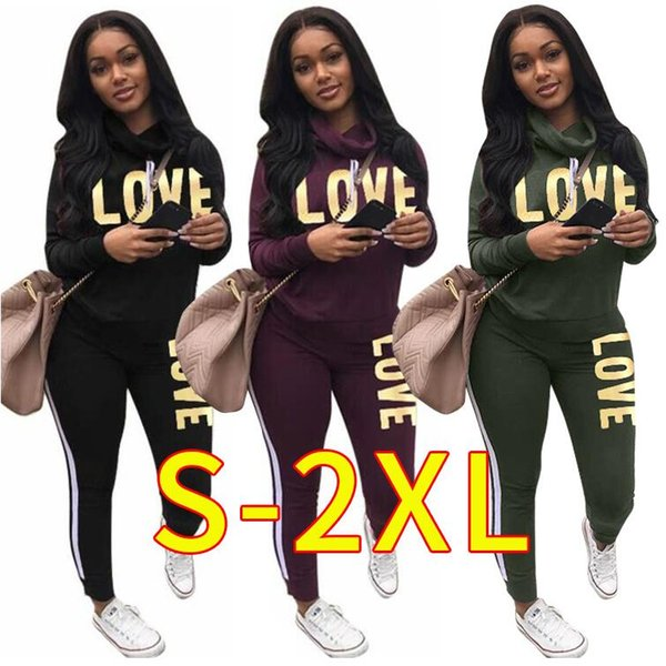 LOVE Women turtle neck outfits hoodie leggings designer track suit sweatshirt pant 2 piece set sportswear bodycon tights pullover sweatsuit