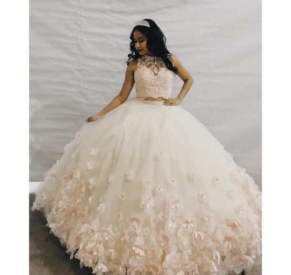 3d Floral Flowers Vestidos De Quinceanera Dresses 2020 Two Pieces Lace Applique Puffy Skirt Ball Gown Prom Sweet 16 Dress Dresses To Wear To A