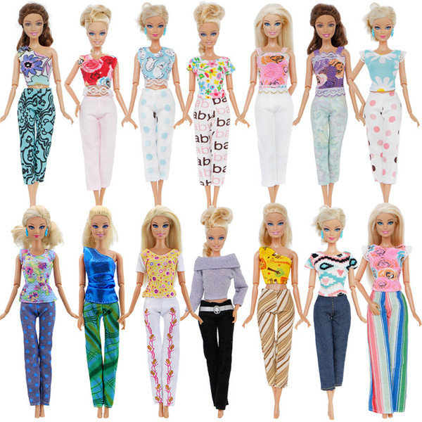 top popular 12Pcs   Lot Fashion Mix Style Outfits Daily Casual Wear Floral Print Tops Trousers Clothes For Barbie Doll 12'' Accessories Gift 2021