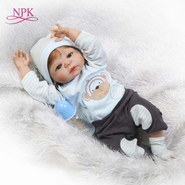 NPk 56cm Silicone reborn baby boy doll toy like real full silicone body newborn babies doll bebes reborn bonecas waterproof bath Y200111