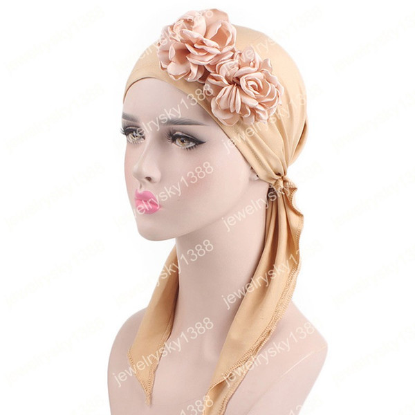 Nuevo A women Vintage 3D pañuelo de flores Sombrero de quimio Turbante Bufandas de cabeza Pre-Tied Headwear Bandana para el cáncer Turbante