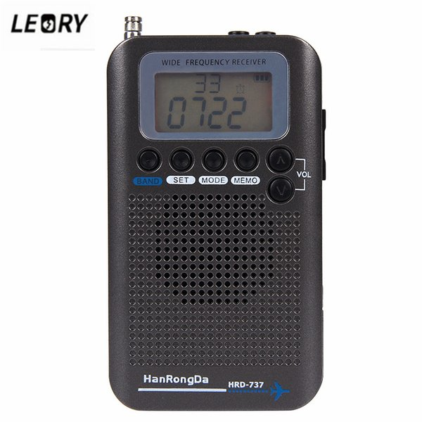 LEORY New Portable Full Band Radio VHF FM AM Recorder Aircraft Band Radio Receiver CB SW AIR Receivers with LCD Screen