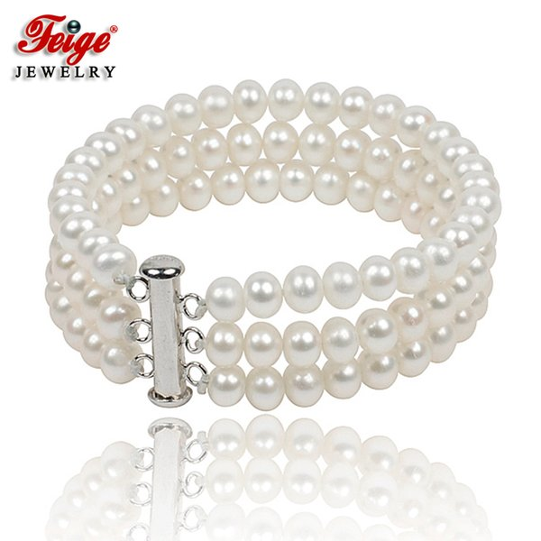 Classic Natural Pearl Strand Bracelet For Women Anniversary Jewelry Gifts 6-7mm White Freshwater Pearl Jewellery Handmade Feige J190718