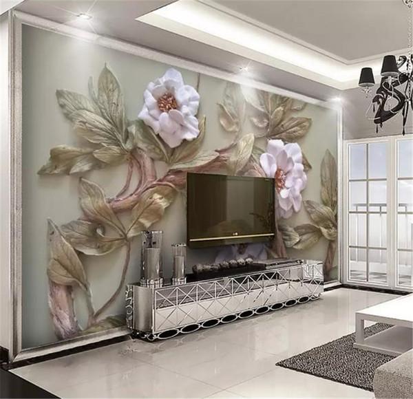 Tapete 3d prägte Blumen-Baum-Wohnzimmer-Schlafzimmer-Hintergrund-Wand-Dekorations-Tapeten-kundenspezifisches Foto