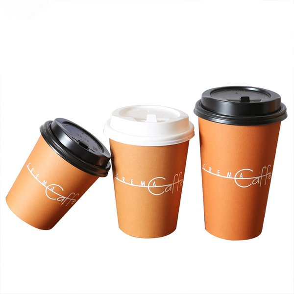 100pcs Thick Paper Milk Tea Packaging Cups Disposable Coffee Cup Coffee Patern Party Favor Beverage Cup Takeaway Packages