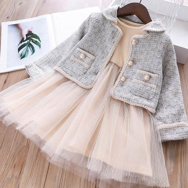 Neue Mädchen fallen Boutique Kleidung Mädchen Anzüge Prinzessin Kinder Outfits Kinder Designer Kleidung Mädchen Jacke Mantel + Tutu Kleider Kinder Sets A7631