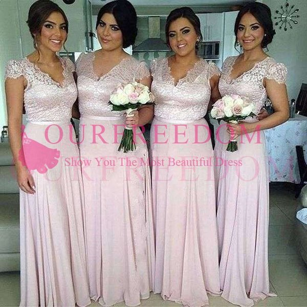 2019 Elegant V Neck Pale Pink Bridesmaid Dresses Cape Sleeve A Line Floor Length Maid Of Honor Wedding Guest Gown For Country Wedding Wear