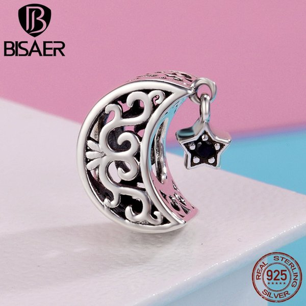 Genuine 100% 925 Sterling Silver I Love You To The Moon & Star Bead Fit Original Charms Bracelet Silver 925 Jewelry Making