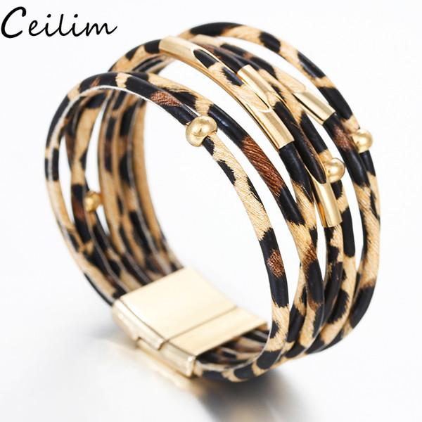Pulseras de cuero de leopardo bohemio para mujeres hombres 2019 brazaletes de pulsera de moda elegante hecho a mano de múltiples capas Wrap pulsera ancha pulsera