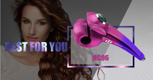 2019 Full automatic curler without hair wound, curly hair, large curled pear curl hair curl, multi function LCD display