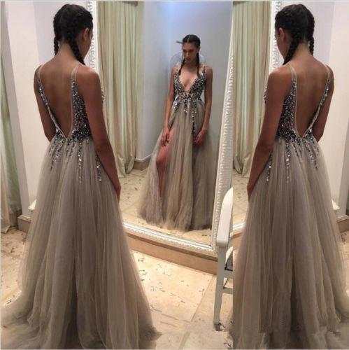Custom Beaded Sequins Luxury Prom Dresses 2019 Long Sweep Tulle A Line Party Gowns Deep V Neck Sexy Cheap Dress