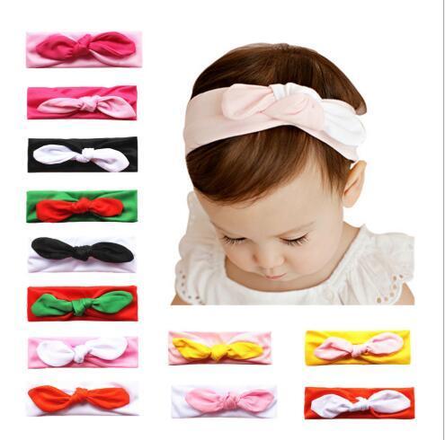 12 colores moda niños conejo oreja de algodón elástico Hairband princesa Hairband accesorios para el cabello accesorios de fotografía FD3164
