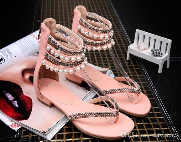 Women Rome Bohemia Flat Sandals String Beading Sweet Women casual Shoes flip flop Open Toe Ankle Strap Women Summer Sandals