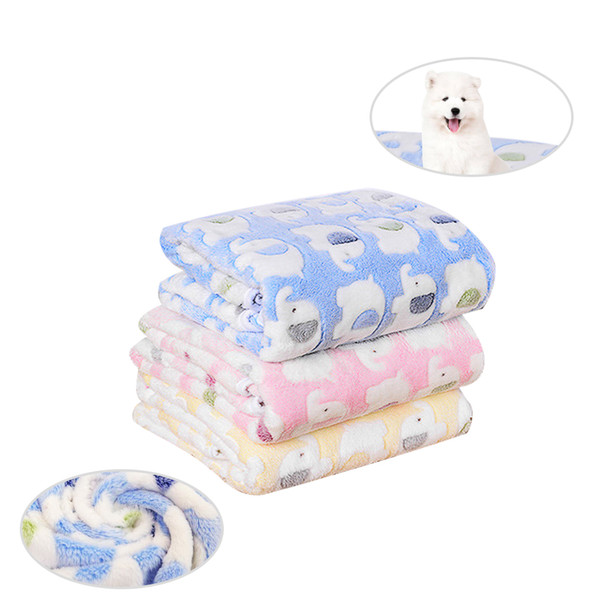 best selling Pet Blankets Coral Fleece Cute Elephant Prints Dog Pads Sleeping Bed Cover Mat For Small Medium Dog Cat 1 PCS A