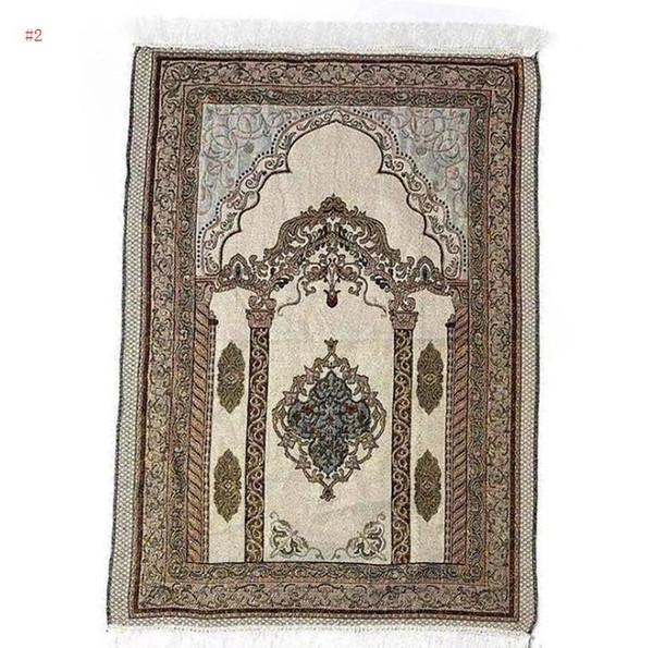 top popular Islamic Muslim Prayer Mat 70*110 Saudi Arab Turkish Dubai Prayer Rug Home Wear Ramadan Cotton Soft Blanket Carpets Mats SN949 2021