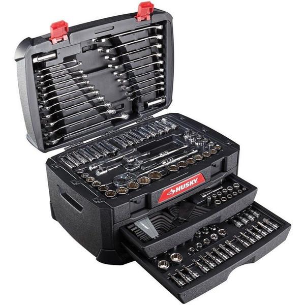 268-teiliges Husky Mechanics-Werkzeugset mit metrischem SAE-Steckschlüssel-Reparatursatz