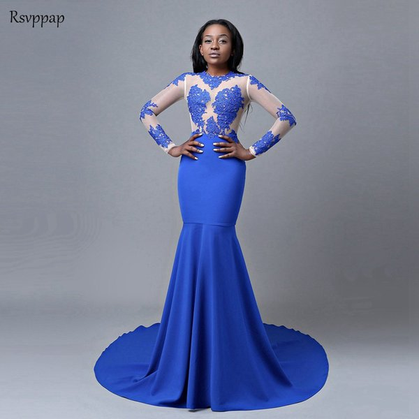Royal Blue Mermaid Prom Dresses 2019 Long Sleeve Top Lace Stretch Satin African Party Prom Dress