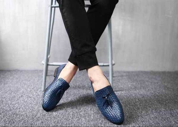 Diseñador hecho a mano de moda de lujo casual fiesta de bodas marca ocio masculino vestido genuino tejido de cuero para hombre Derby Shoes