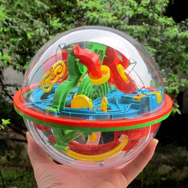 top popular 100 Steps Small Big Size 3D Labyrinth Magic Rolling Globe Ball Marble Puzzle Cubes Brain Teaser Game Sphere Maze Wholesale 2021