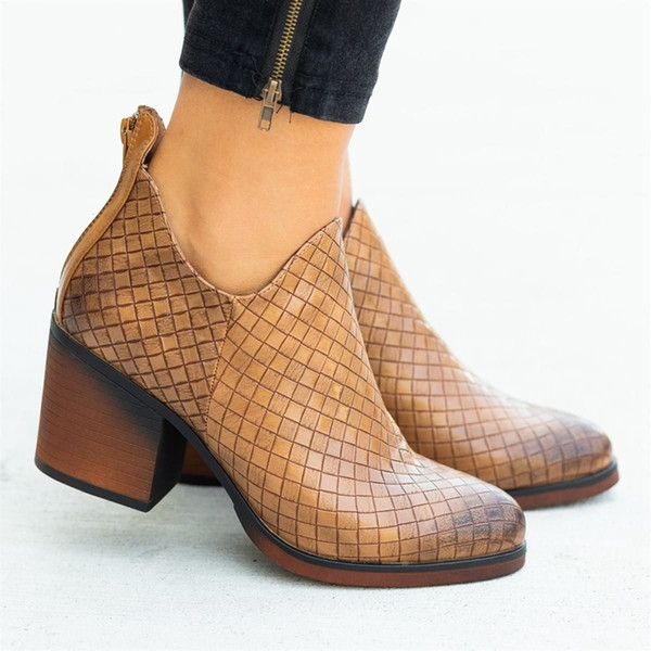 Oeak Frauen Stiefel-Qualitäts-Herbst-Winter-Pu weibliche Seite Zipper Boot Vintage-Weaving Boots Nizza Ankle Boot Feminina Dropship